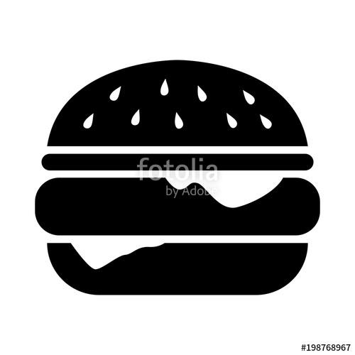 Burger clipart simple. Flat black silhouette illustration