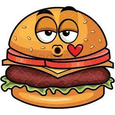 Burger clipart smiley face. Confused hamburger emoji cartoon