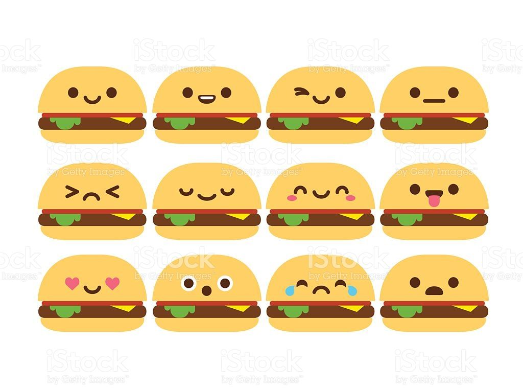 Cute cartoon with different. Burger clipart smiley face