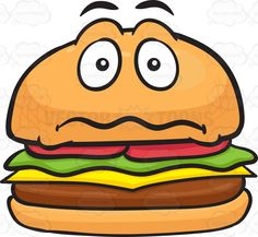Burger clipart smiley face. Hamburger with a scared