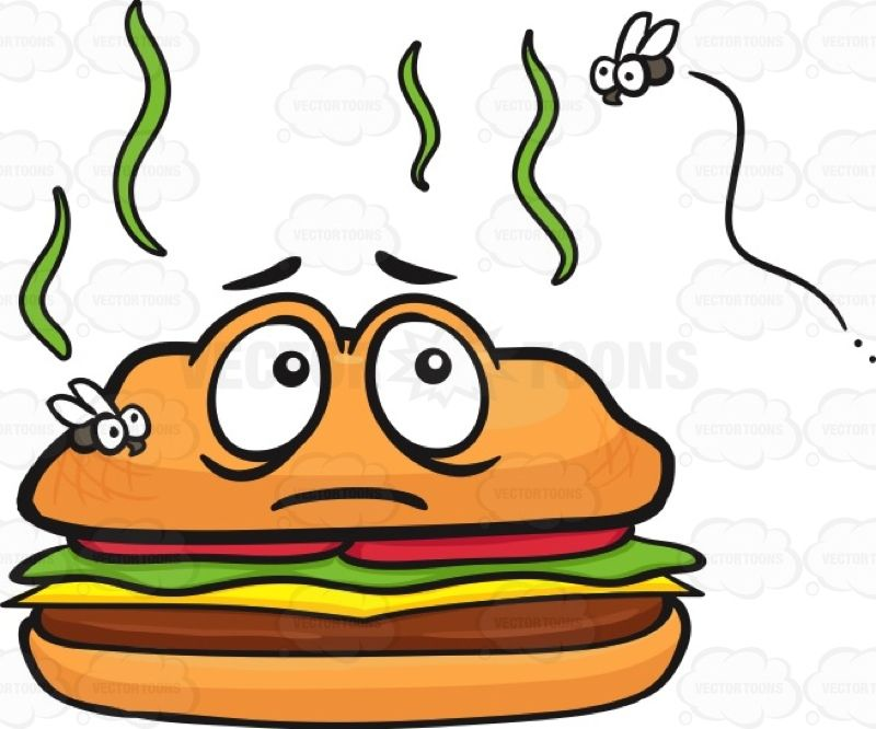 Stinky hamburger with flies. Cheeseburger clipart face
