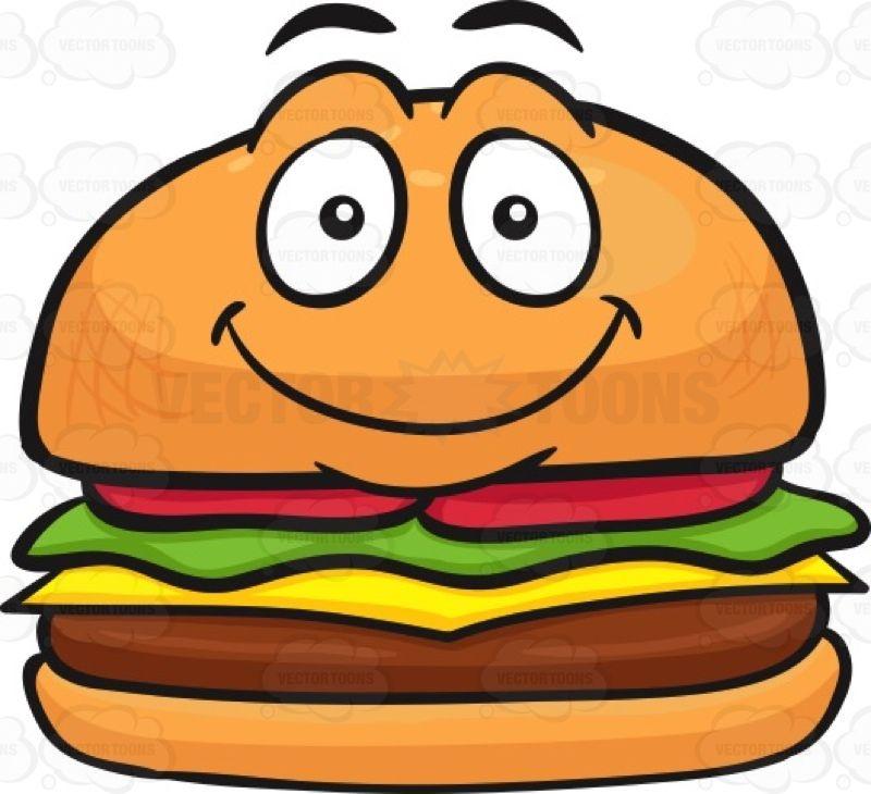 Cheeseburger clipart face. Hamburger with a smiley