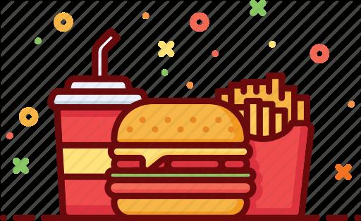 Burger clipart soda. Fast food menu by