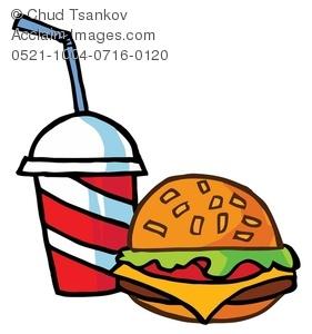 Image of a cheeseburger. Burger clipart soda