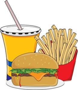 Hamburger and fries fast. Burger clipart soda