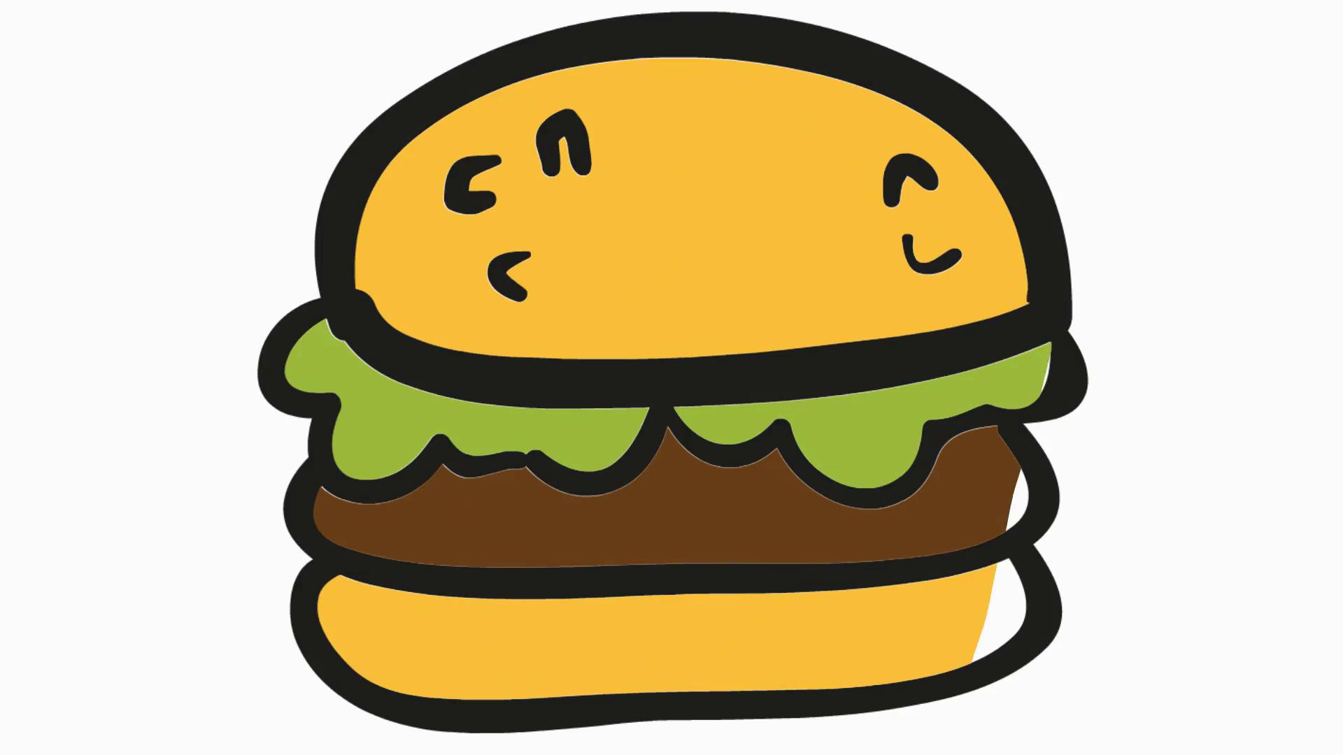 Burger clipart transparent background. Cartoon illustration hand drawn