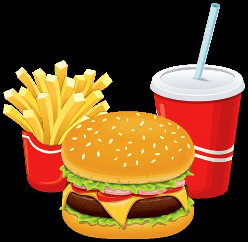 Cheeseburger clipart transparent background. Hamburger fries and cola