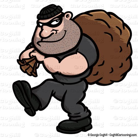 Cartoon clip art stock. Burglar clipart