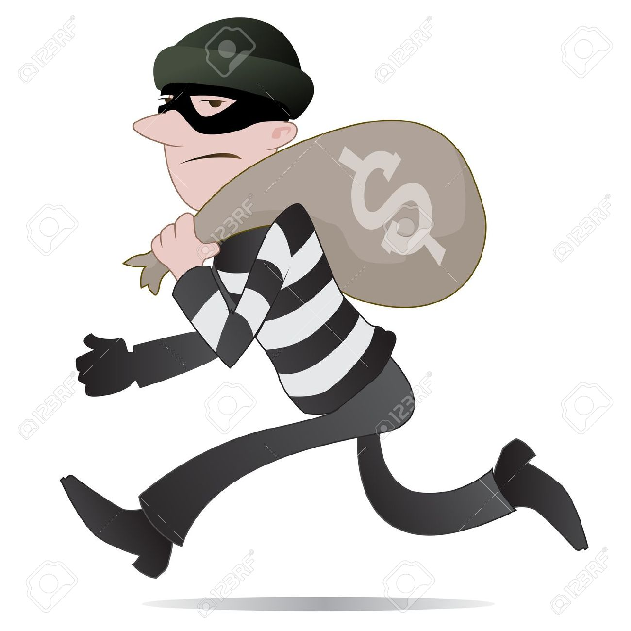 Scary robber pencil and. Burglar clipart