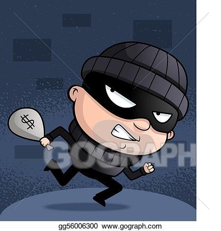 Burglar clipart animated. Eps vector running stock