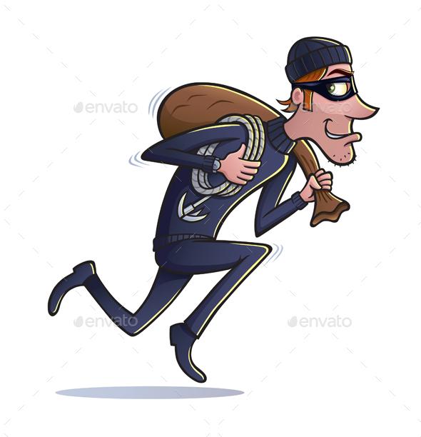 Thief running with of. Burglar clipart bag