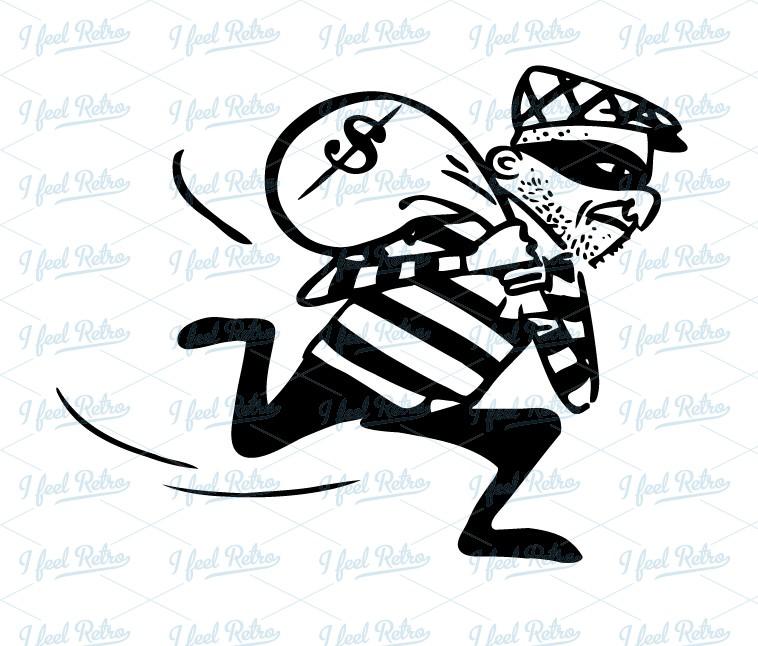 collection of thief. Burglar clipart bag