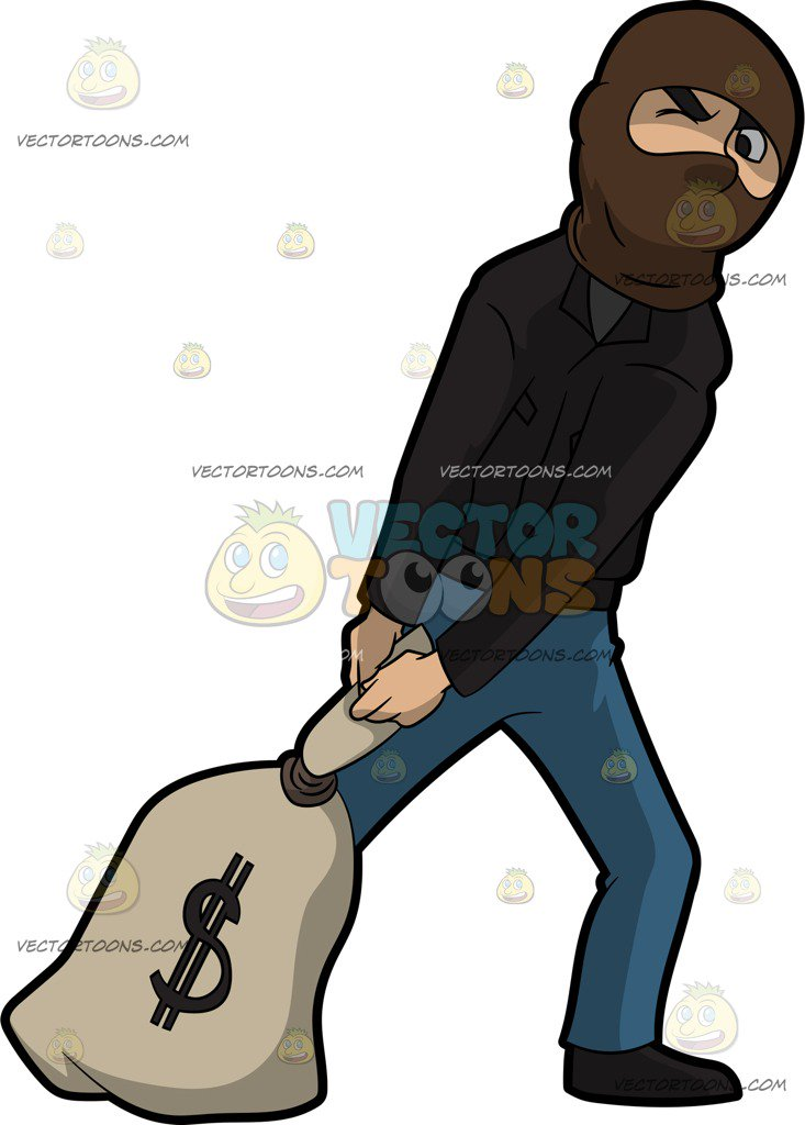 Burglar clipart bag. Picture of a robber