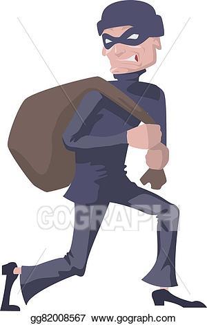 Vector stock robber in. Burglar clipart bag