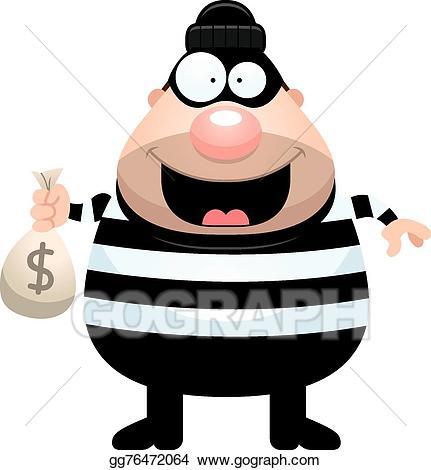 Burglar clipart bag. Eps illustration cartoon money
