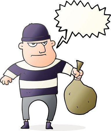 Speech bubble cartoon with. Burglar clipart bag