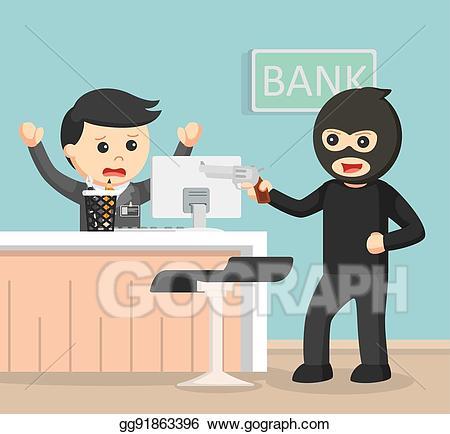 Burglar clipart bank robber. Vector illustration robbing color