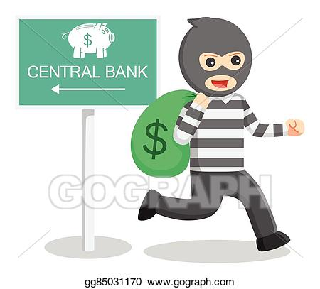 Vector art thief illustration. Burglar clipart bank robber