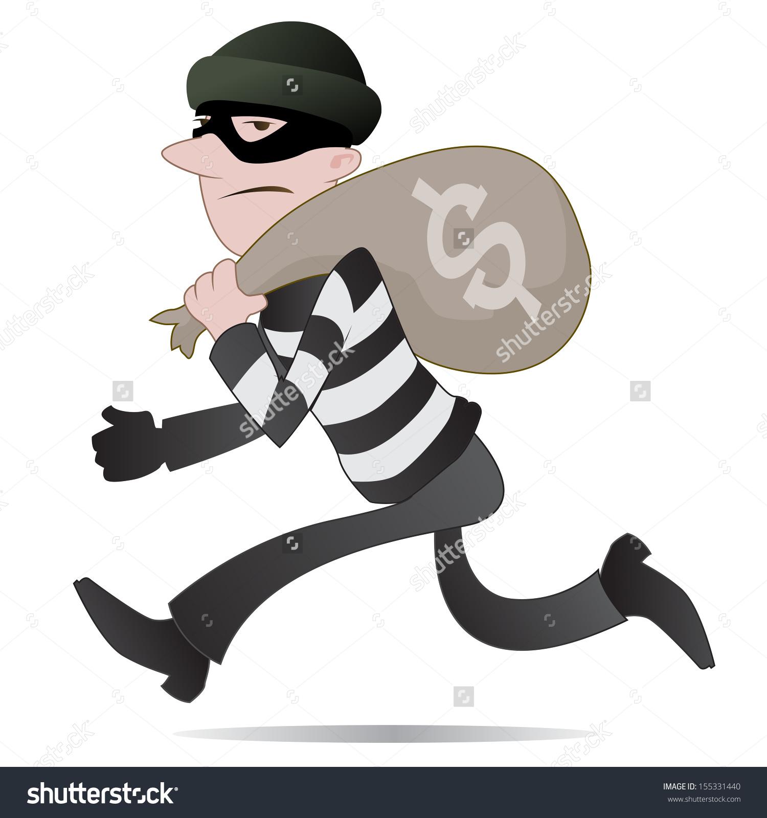 Running . Burglar clipart black and white