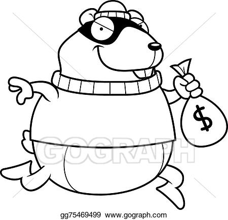 Vector art cartoon hamster. Burglar clipart black and white
