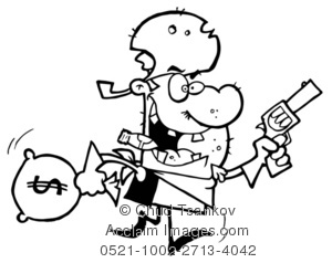 Illustration of robber with. Burglar clipart black and white