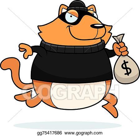 Vector stock cat illustration. Burglar clipart cartoon