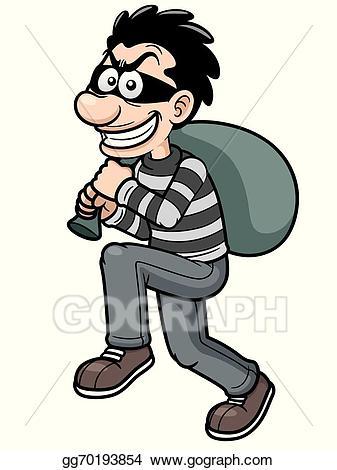 Vector thief illustration . Burglar clipart cartoon
