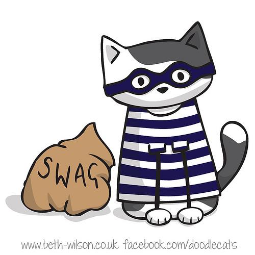 Doodlecats. Burglar clipart cat burglar