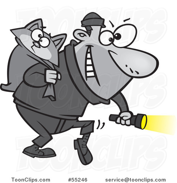 Burglar clipart cat burglar. Cartoon carrying a kitty