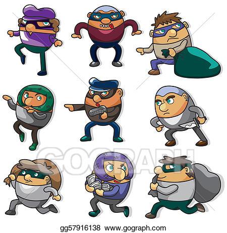 Burglar clipart character. Vector cartoon thief icon