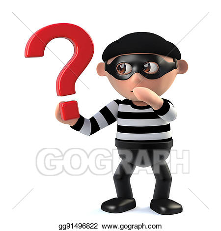 D funny cartoon character. Burglar clipart criminal