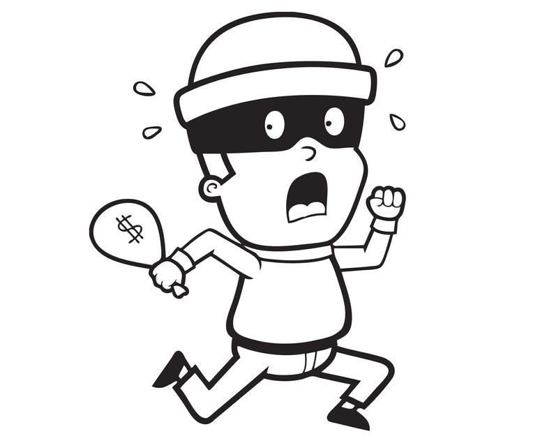 Thief running bank robber. Burglar clipart criminal