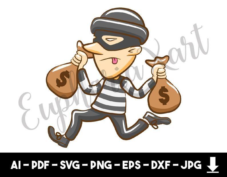 Robber svg cricut looter. Burglar clipart cute
