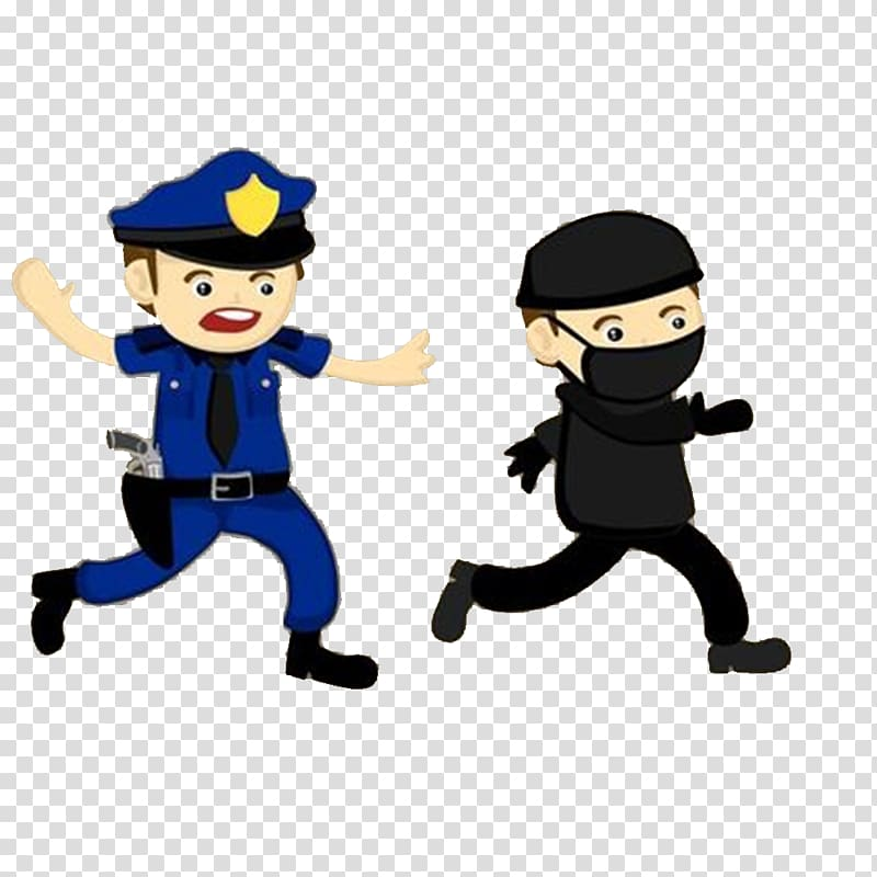 Criminal clipart burgler. Police chasing thief officer