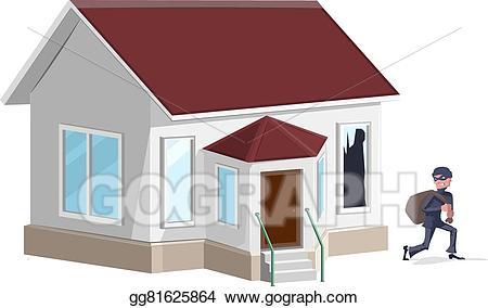Vector art male thief. Burglar clipart in house