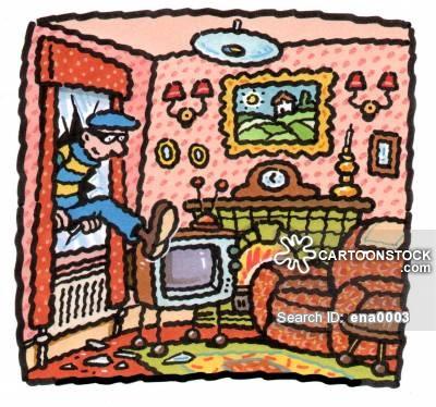 Security cartoons and comics. Burglar clipart in house