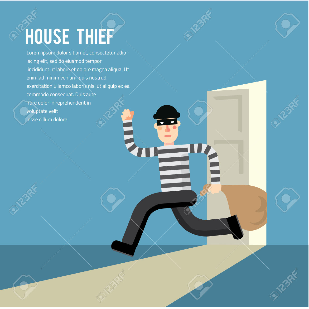 Stele clipground stock illustrations. Burglar clipart in house