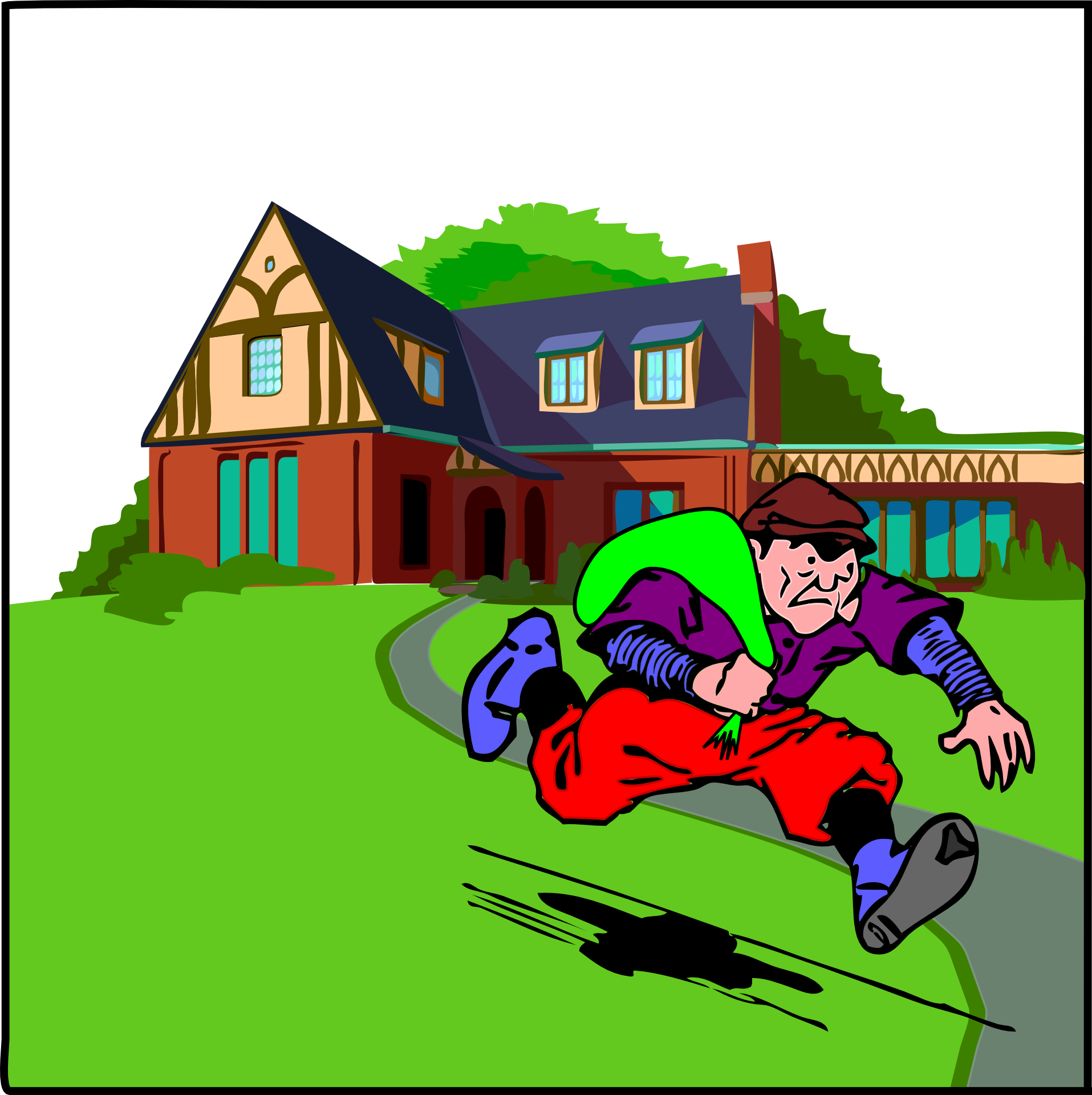 Thief robbed big and. Burglar clipart in house