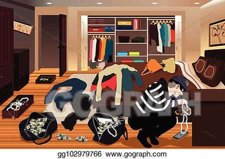 Burglar clipart in house. Vector illustration stealing jewelries