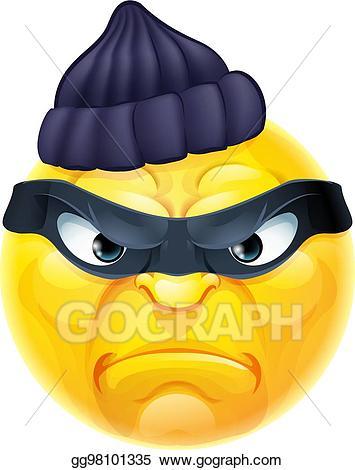 Burglar clipart kidnapper. Vector emoticon emoji or