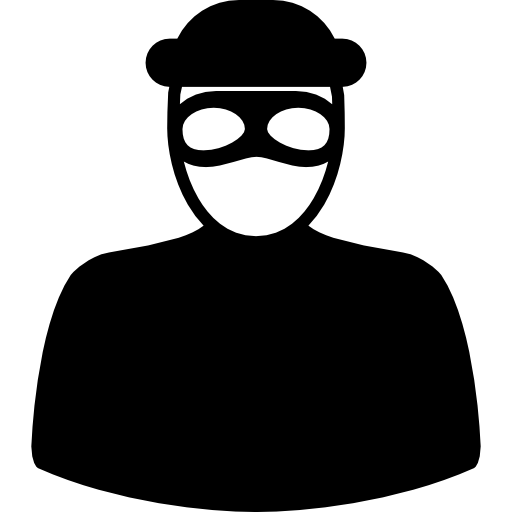Unrecognizable robber with eyes. Burglar clipart mask