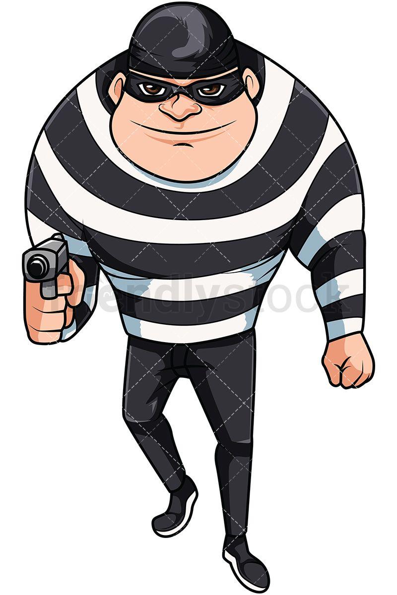 Mugger holding gun cartoon. Burglar clipart mask