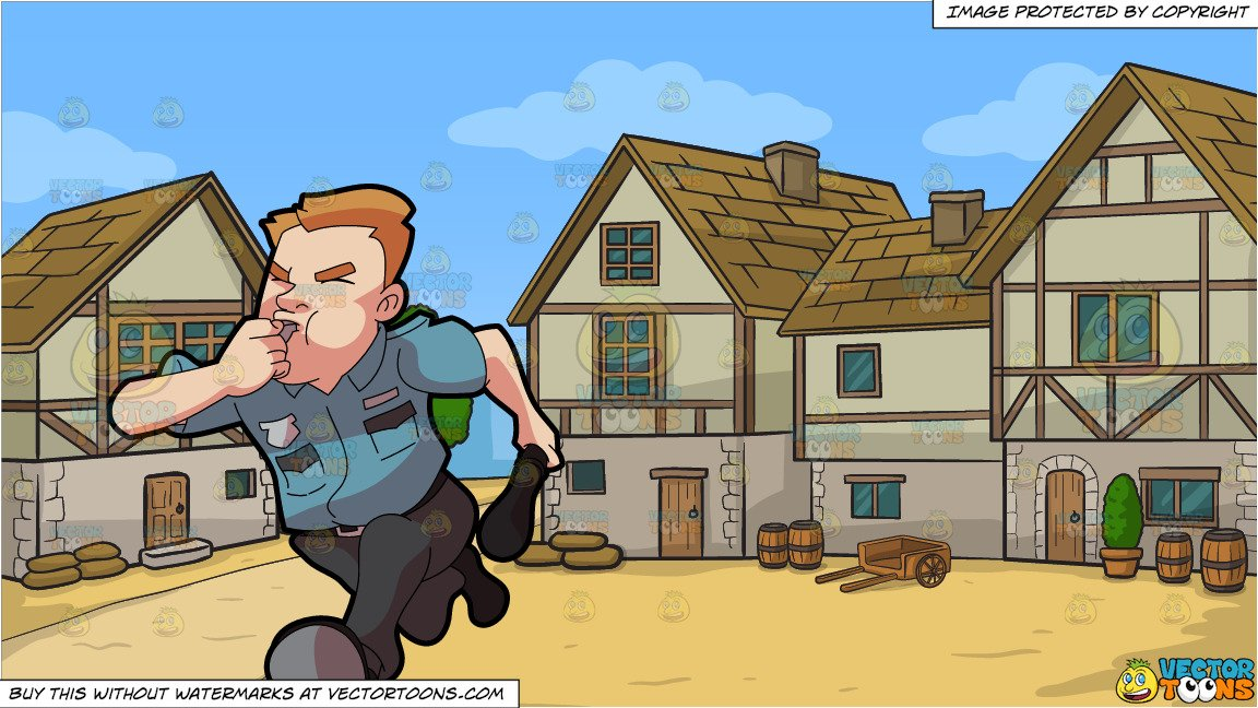 Burglar clipart medieval. A security guard running