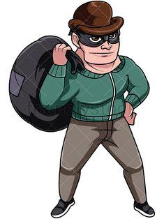 Black thief stealing money. Burglar clipart medieval