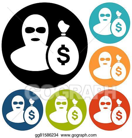 Burglar clipart offender. Vector stock icon illustration