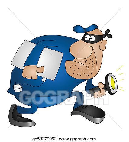 Vector art drawing gg. Burglar clipart offender