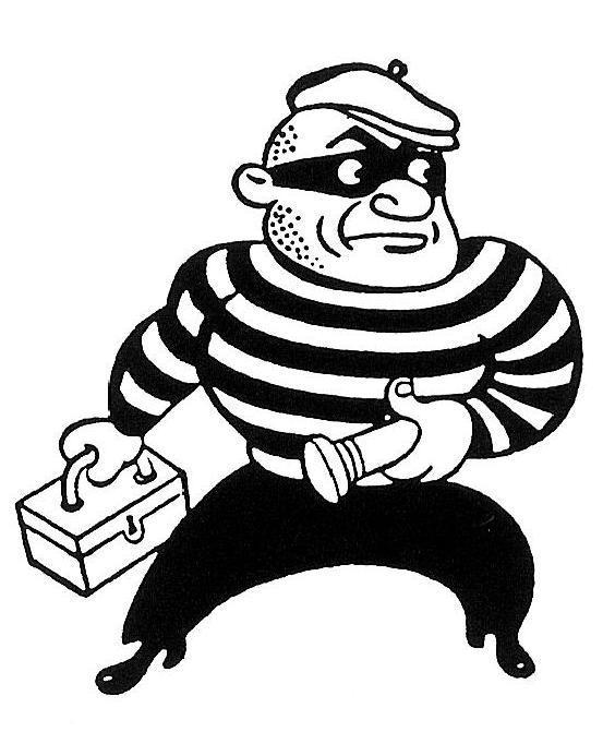 Locks himself in storage. Burglar clipart old fashioned