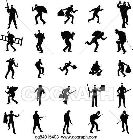Eps illustration robber silhouette. Burglar clipart perpetrator