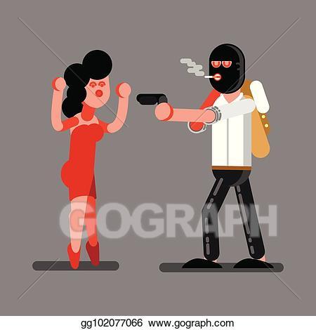 Burglar clipart rob. Vector illustration robber a