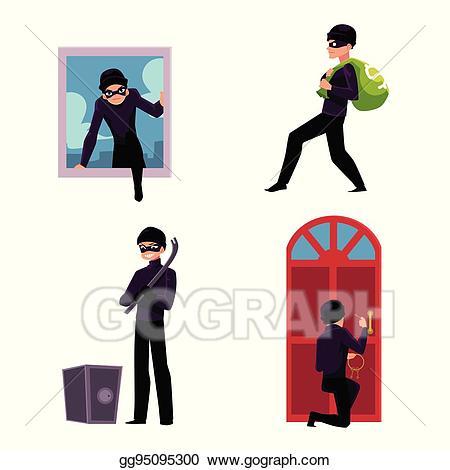 Eps illustration thief trying. Burglar clipart safe home